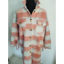 FS Collection Vest / Coat checkered with fringes Orange
