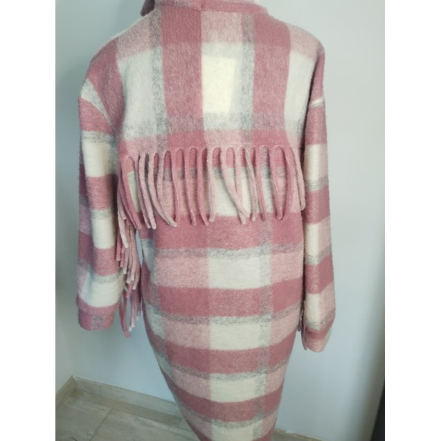 FS Collection Vest / Coat checkered with fringes Old Pink