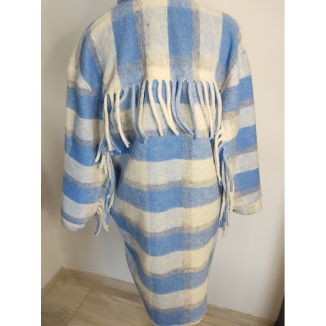 FS Collection Vest / Jacket checkered with fringes Blue